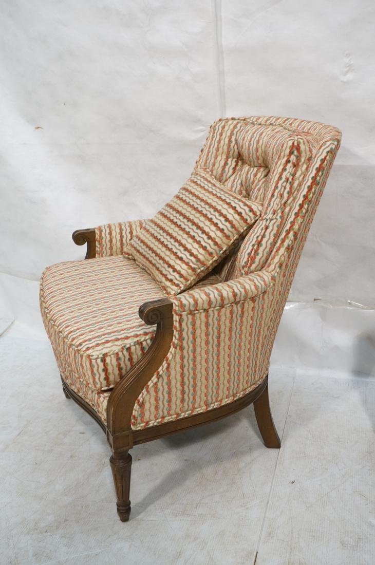 Pr Striped Fabric Decorator Lounge Chairs. Tufted - 3