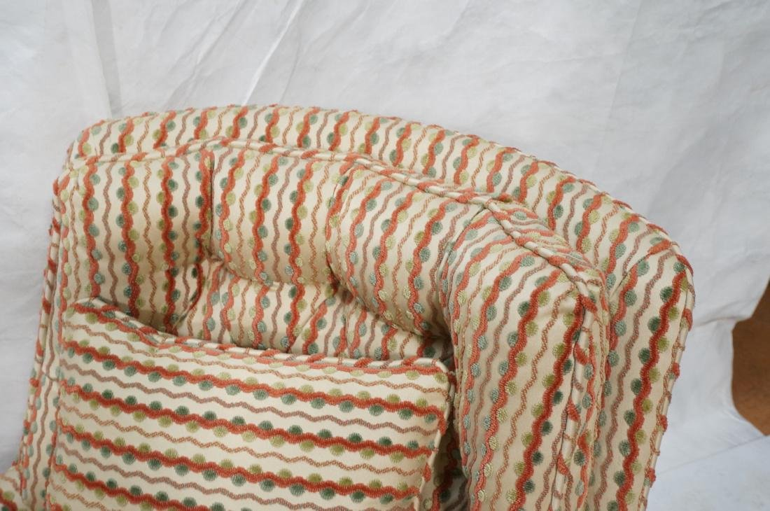 Pr Striped Fabric Decorator Lounge Chairs. Tufted - 4
