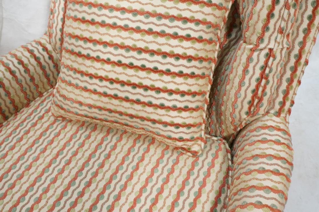Pr Striped Fabric Decorator Lounge Chairs. Tufted - 5