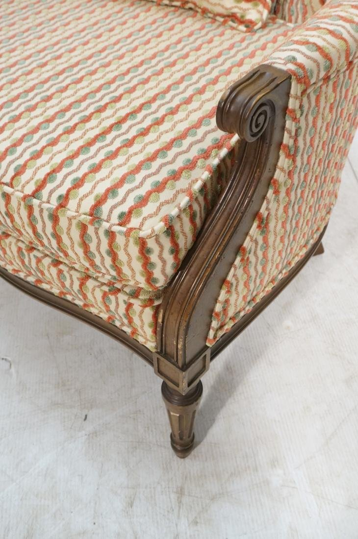 Pr Striped Fabric Decorator Lounge Chairs. Tufted - 6