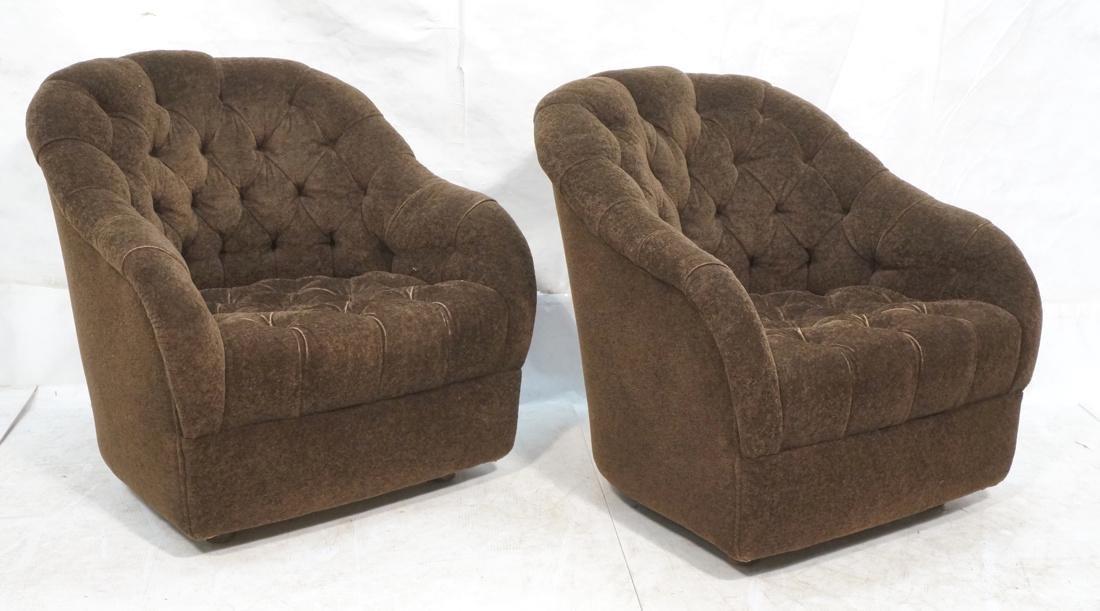 Pr WARD BENNETT Designs Brown Lounge Chairs. Barr