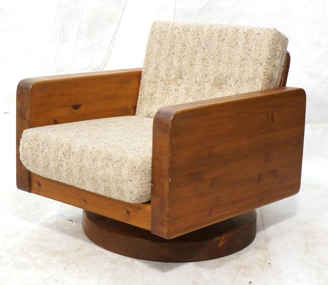 Modern Pine Cube Swivel Lounge Chair. Rocks & swi