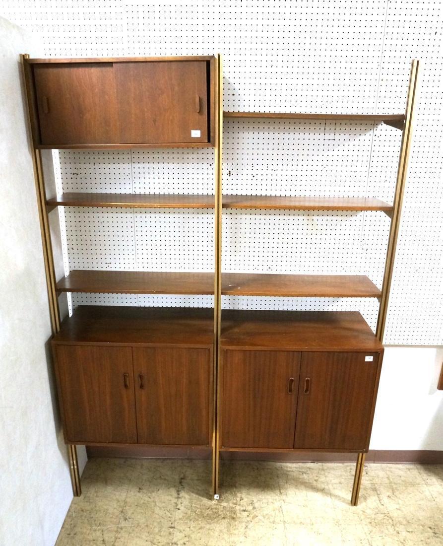 Danish Teak Modern Wall Shelf Unit. 5 Cabinets. 5