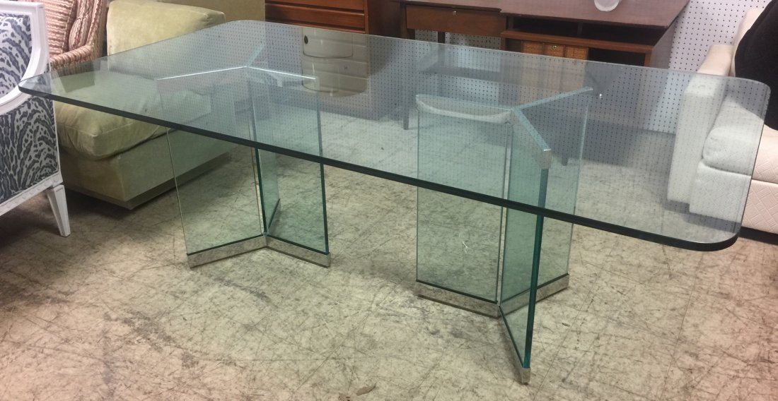 Pace Attributed Glass Top Dining Table with Chrom