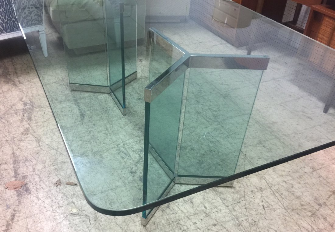 Pace Attributed Glass Top Dining Table with Chrom - 3