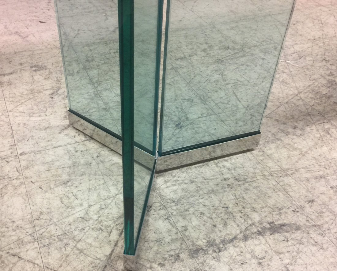 Pace Attributed Glass Top Dining Table with Chrom - 5