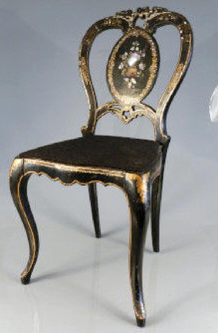 Victorian Black Lacquered Chair