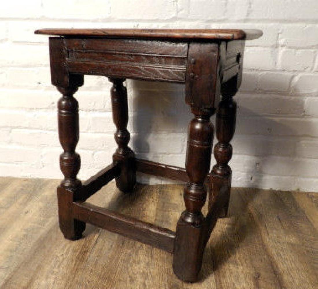 Antique English Oak Jacobean Style Stool