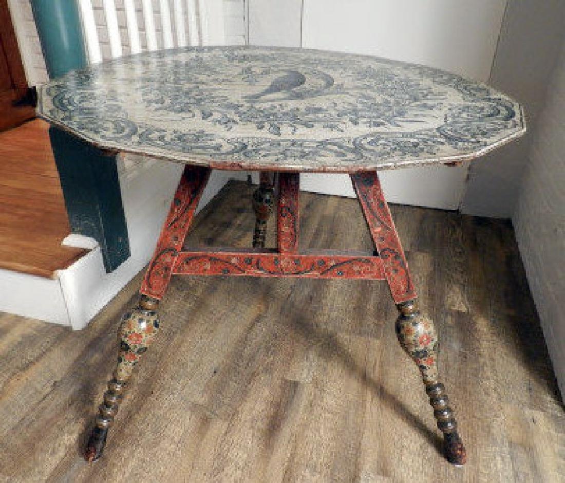 Antique Dutch Polychrome Tripod Table