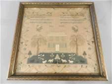 18th Century Mary Robbins Polychrome Sampler