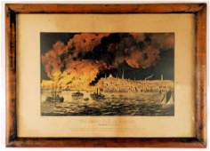 Currier  Ives Framed Lithograph THE GREAT FIRE AT