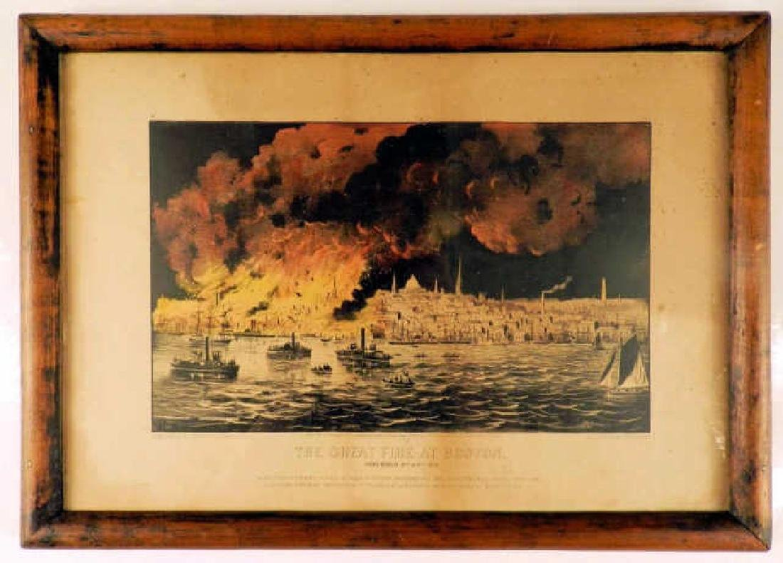 """Currier & Ives Framed Lithograph """"THE GREAT FIRE AT"""