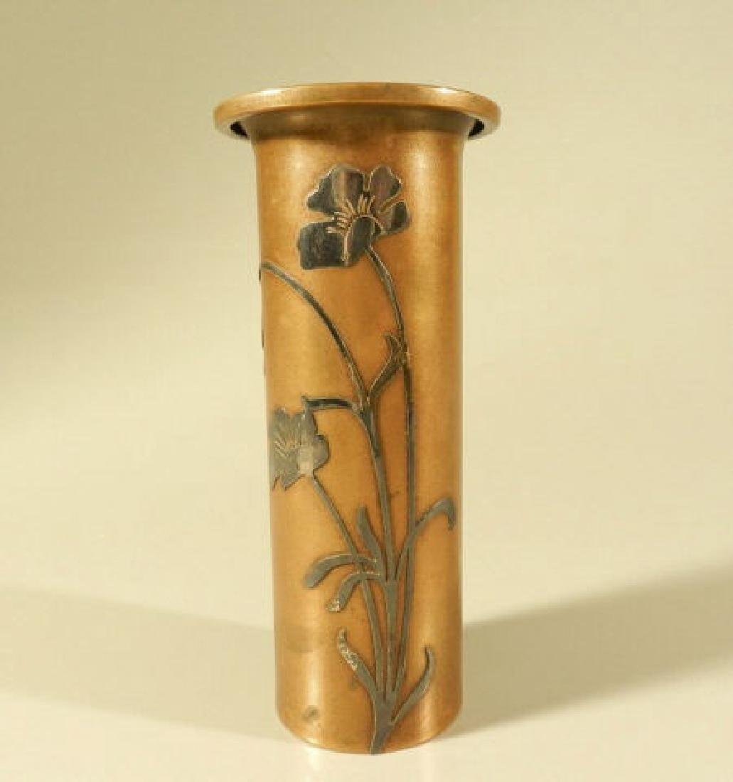 Arts & Crafts Bronze Vase With Silver Overlay