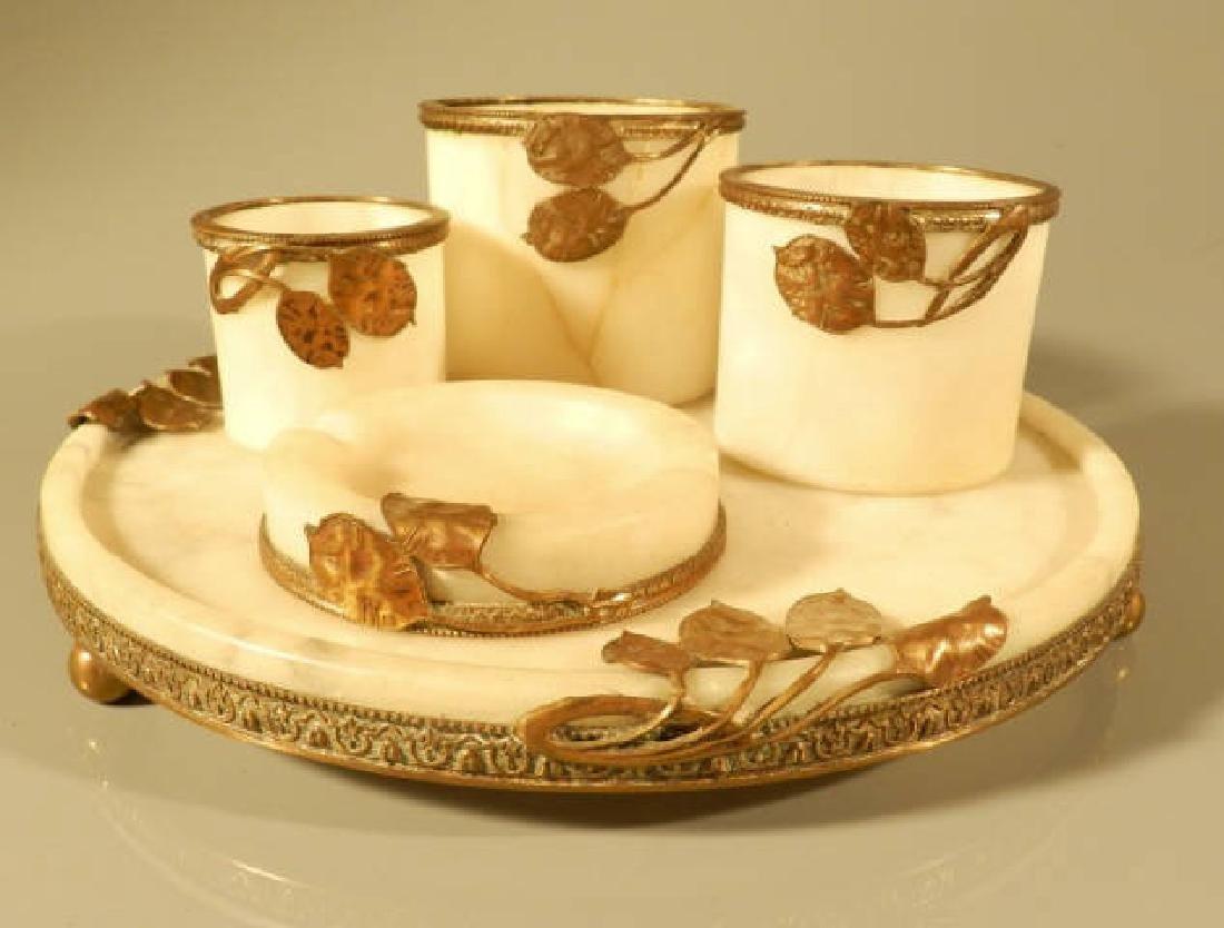 Art Nouveau Style Alabaster Smoker's Set