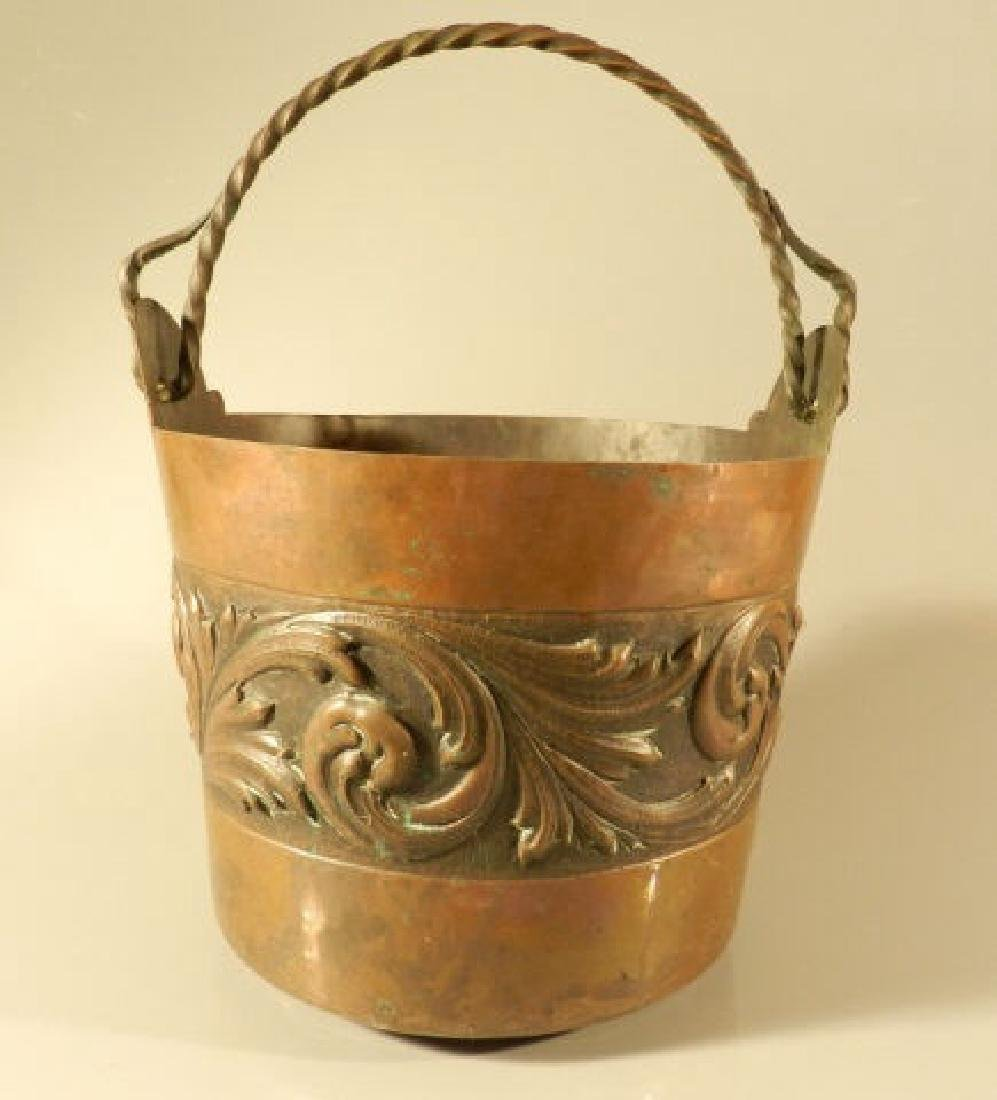Hand Hammered Copper Pail With Acanthus Leaves