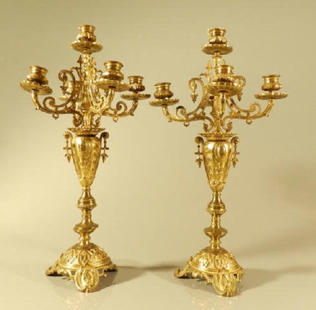 Pair Victorian Gilded Candelabras