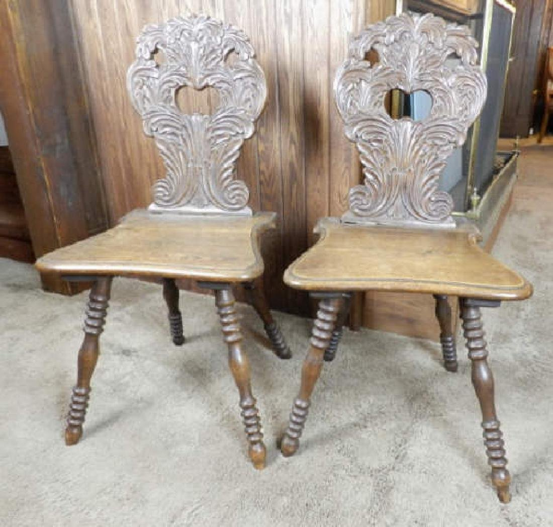 Two Mid 19th C. Swiss Oak Chairs