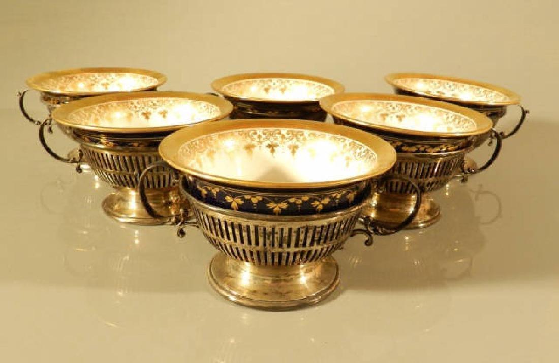 Six Cobalt & Gilt Cups & Birks Sterling Holders