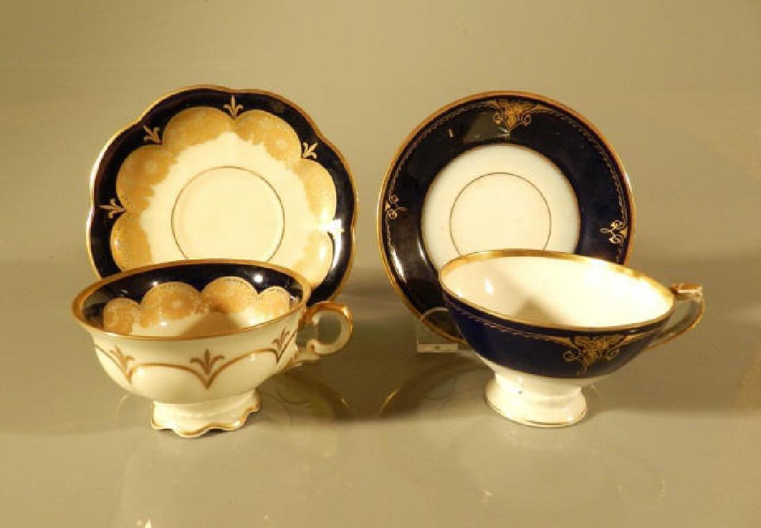 Two Colbalt Blue & Gilt Demi-Tasses & Saucers