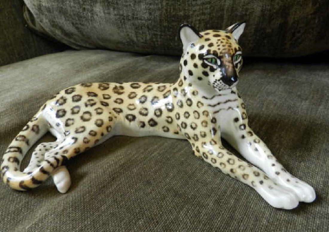 Porcelain Figure Of Recumbent Leopard