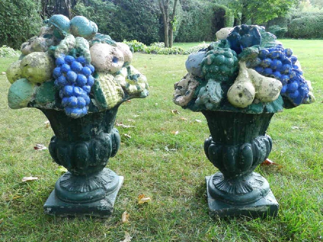 Pair of Vintage Garden Urns With Fruit
