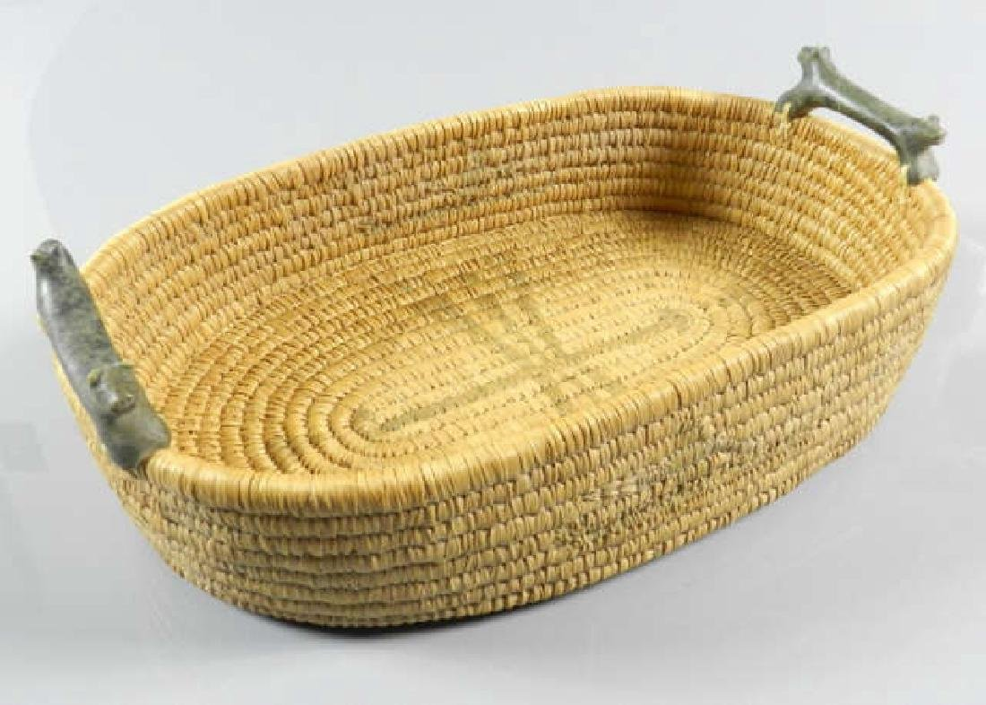 Inuit Sweet Grass Basket & Carved Stone Handles