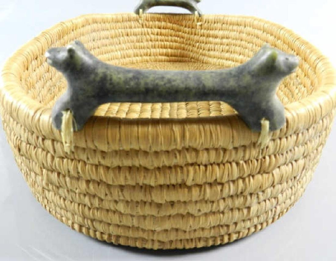 Inuit Sweet Grass Basket & Carved Stone Handles - 3