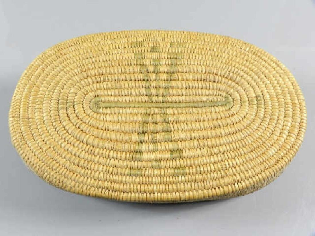 Inuit Sweet Grass Basket & Carved Stone Handles - 5