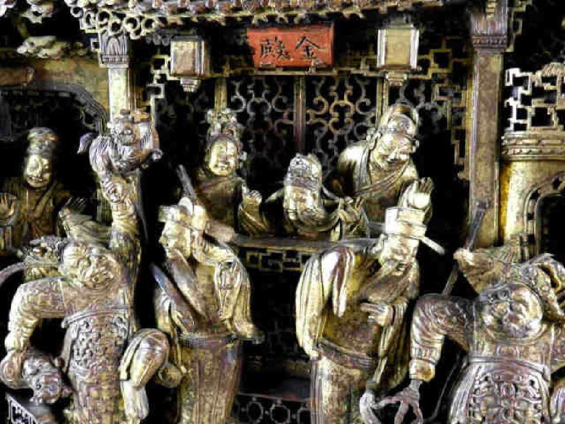 Large Carved Wooden Chinese Golden Palace Diorama - 2