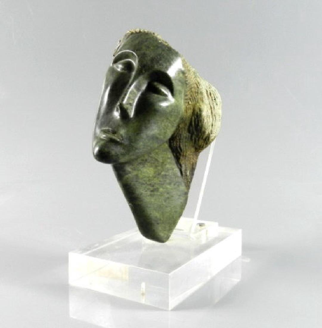 Mid-20th Century Green Stone Carving Of Head