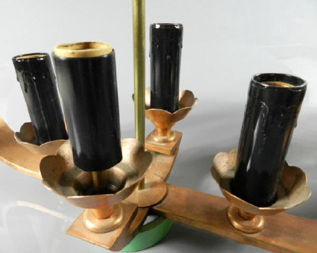 Pair of Art Deco Copper & Brass Ceiling Fixtures - 5