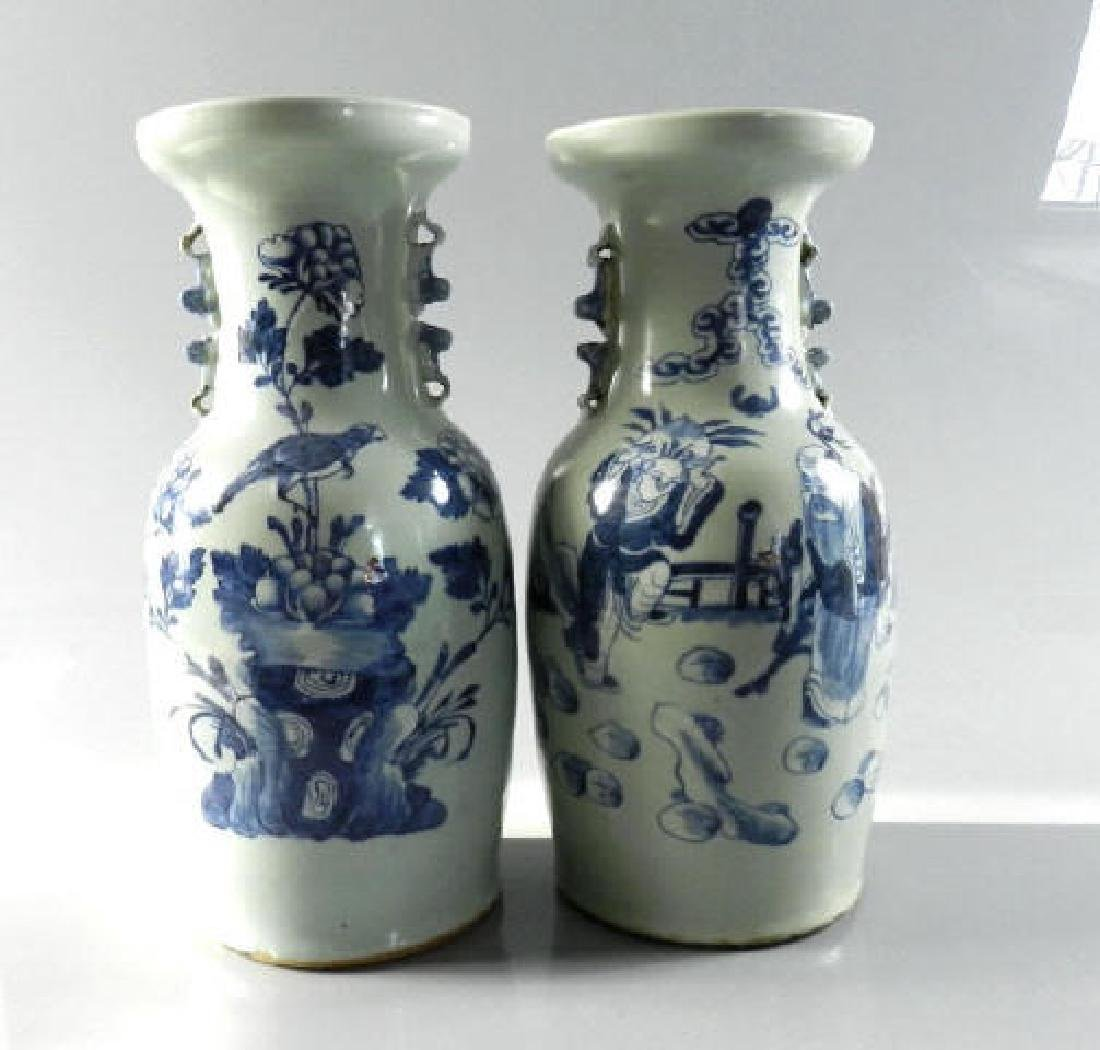 Two Large Chinese Blue & White Baluster Vases