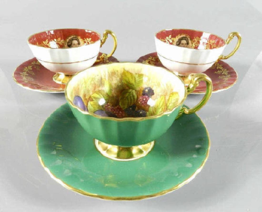Three Aynsley Royal & Fruit Pattern Cups & Saucers