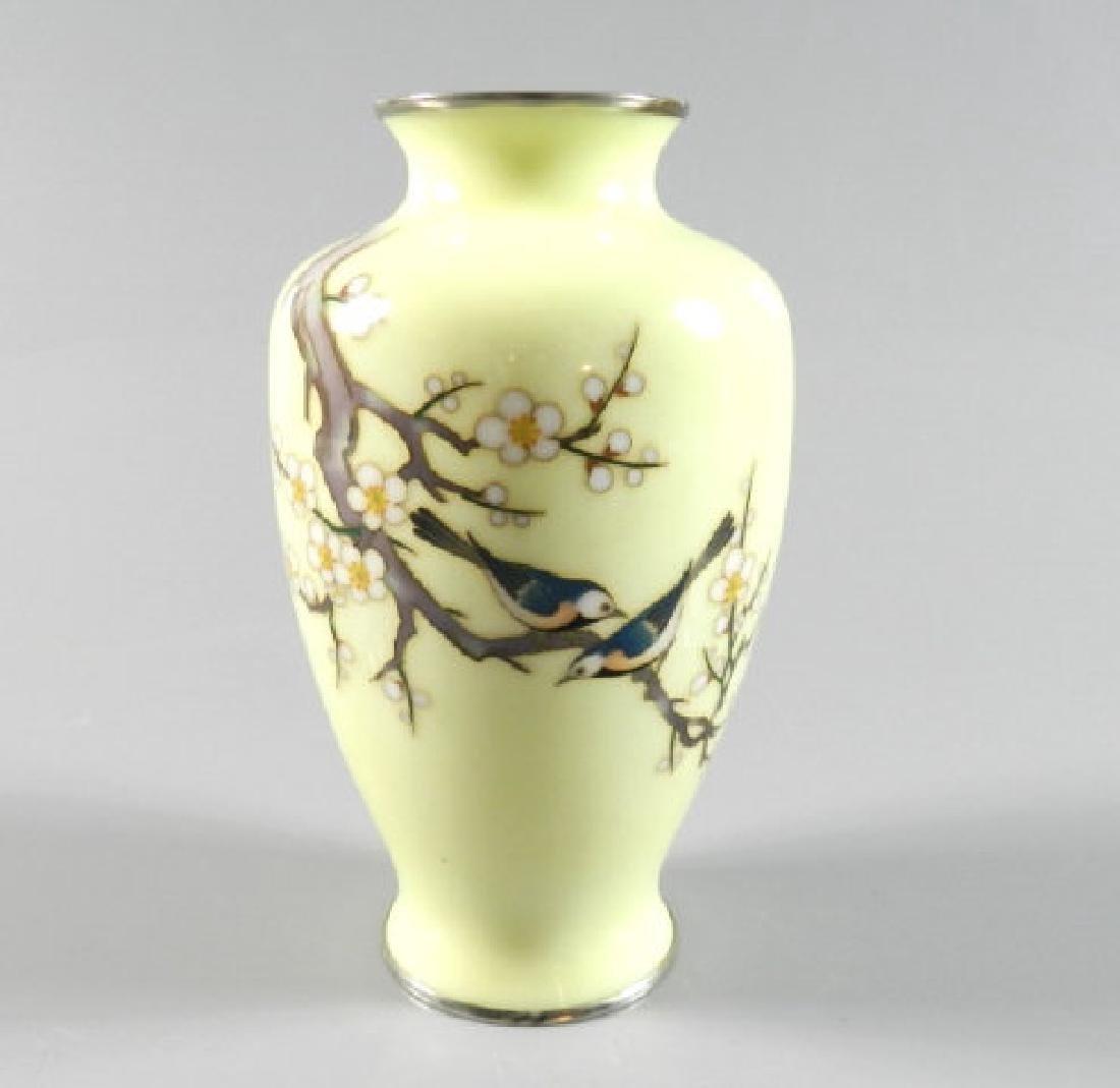 Japanese Cloisonne Birds & Blossom Vase