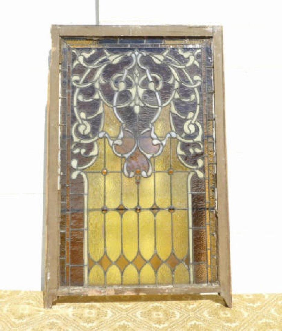 AESTHETIC MOVEMENT STYLE AMBER STAINED GLASS PANEL