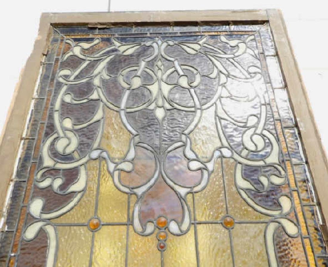 AESTHETIC MOVEMENT STYLE AMBER STAINED GLASS PANEL - 2