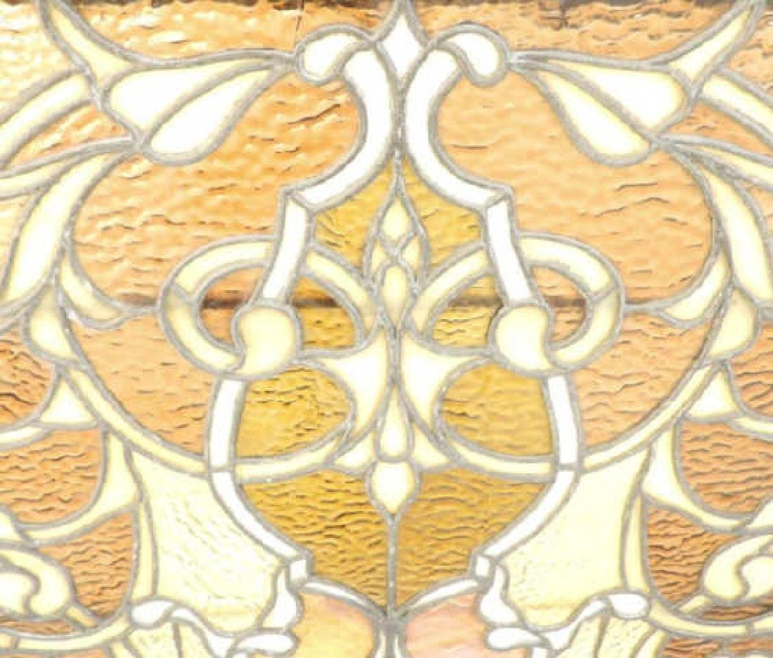 AESTHETIC MOVEMENT STYLE AMBER STAINED GLASS PANEL - 4