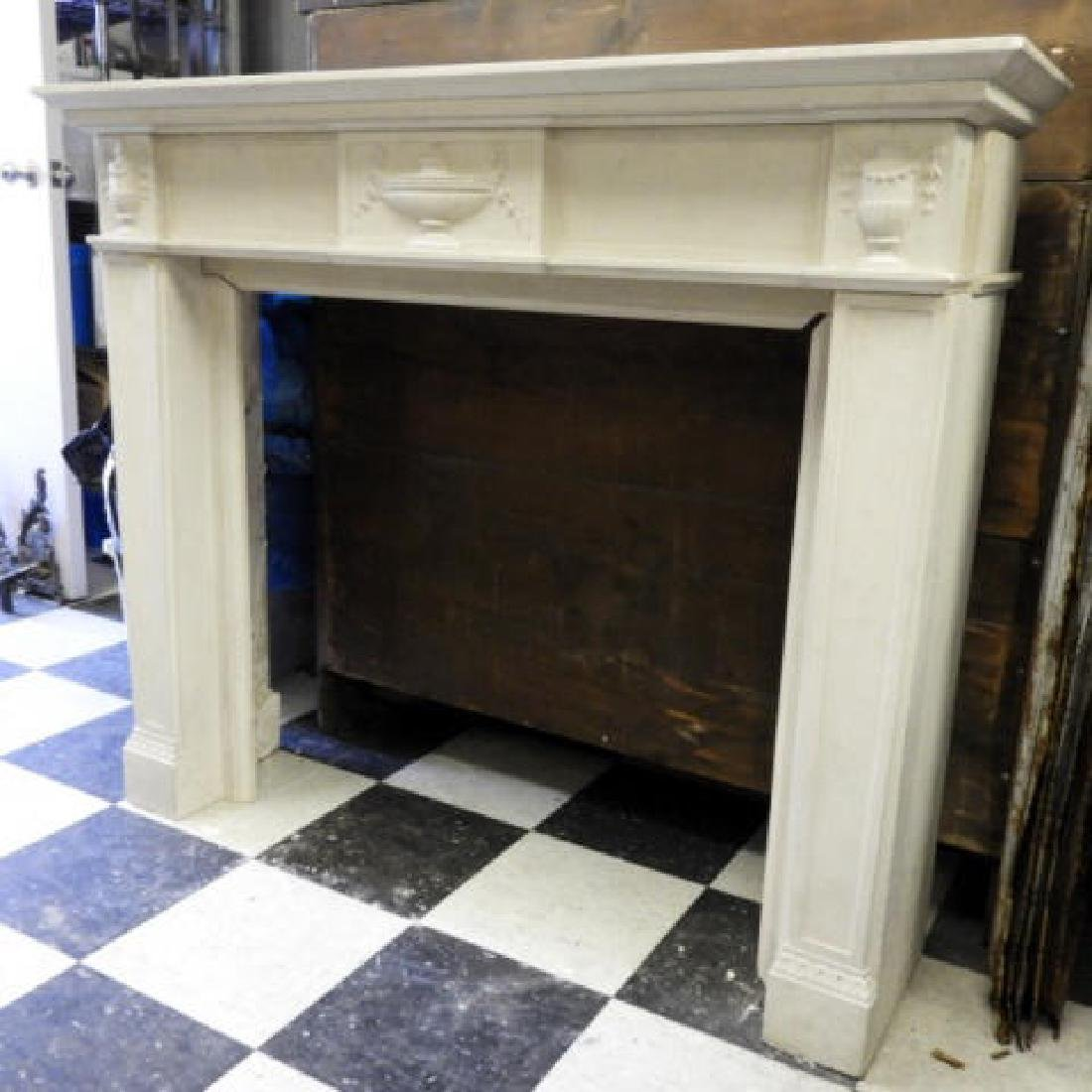 WHITE COMPOSITE FRENCH STYLE FIREPLACE MANTLE