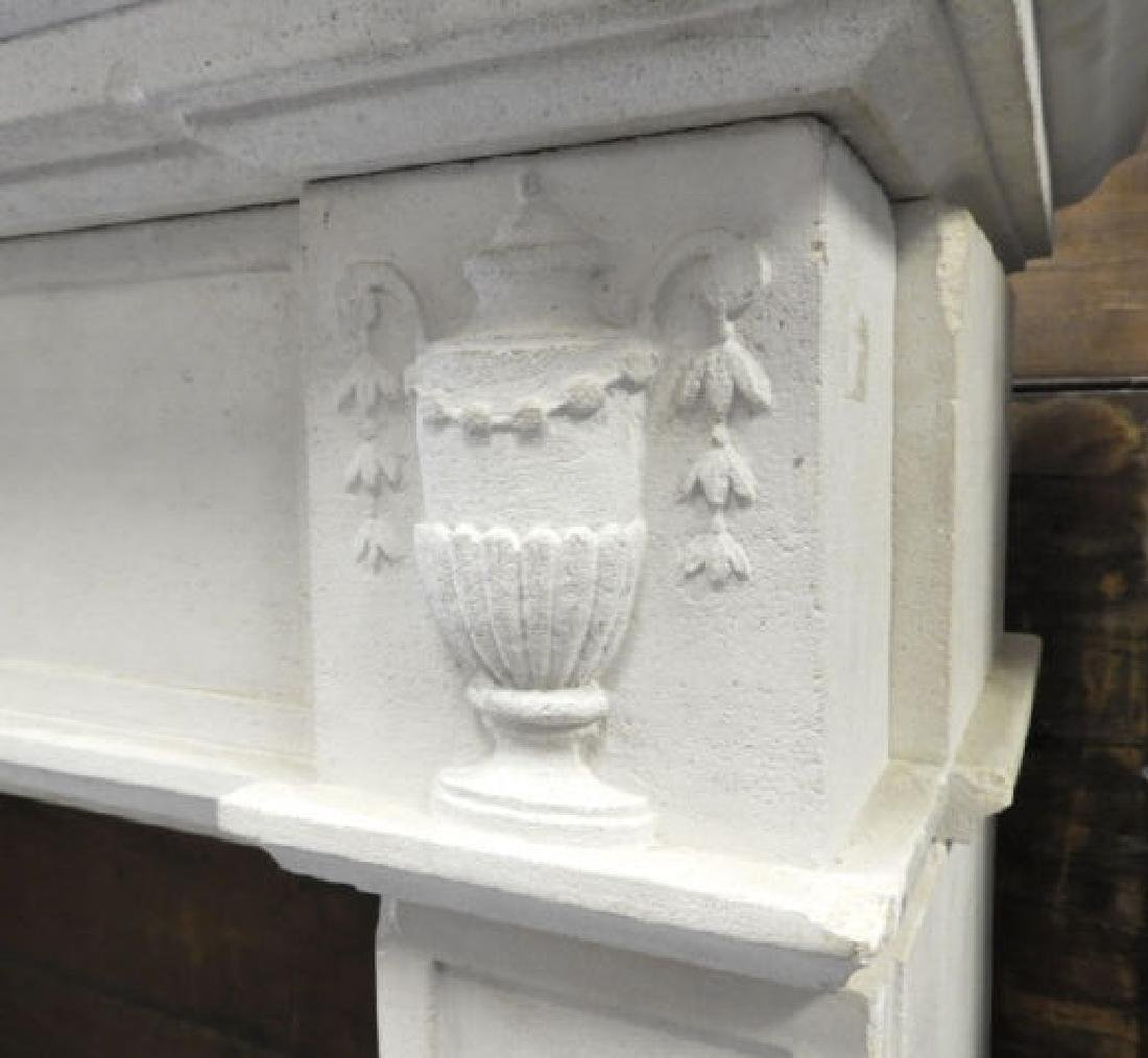 WHITE COMPOSITE FRENCH STYLE FIREPLACE MANTLE - 2