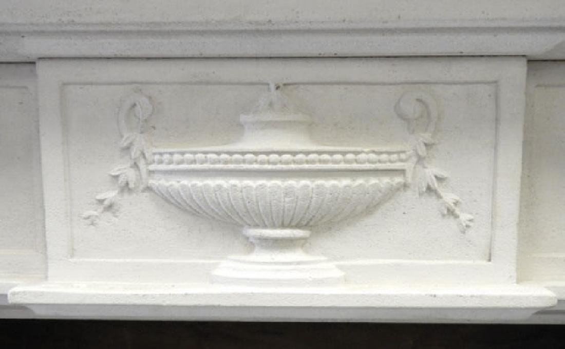 WHITE COMPOSITE FRENCH STYLE FIREPLACE MANTLE - 3