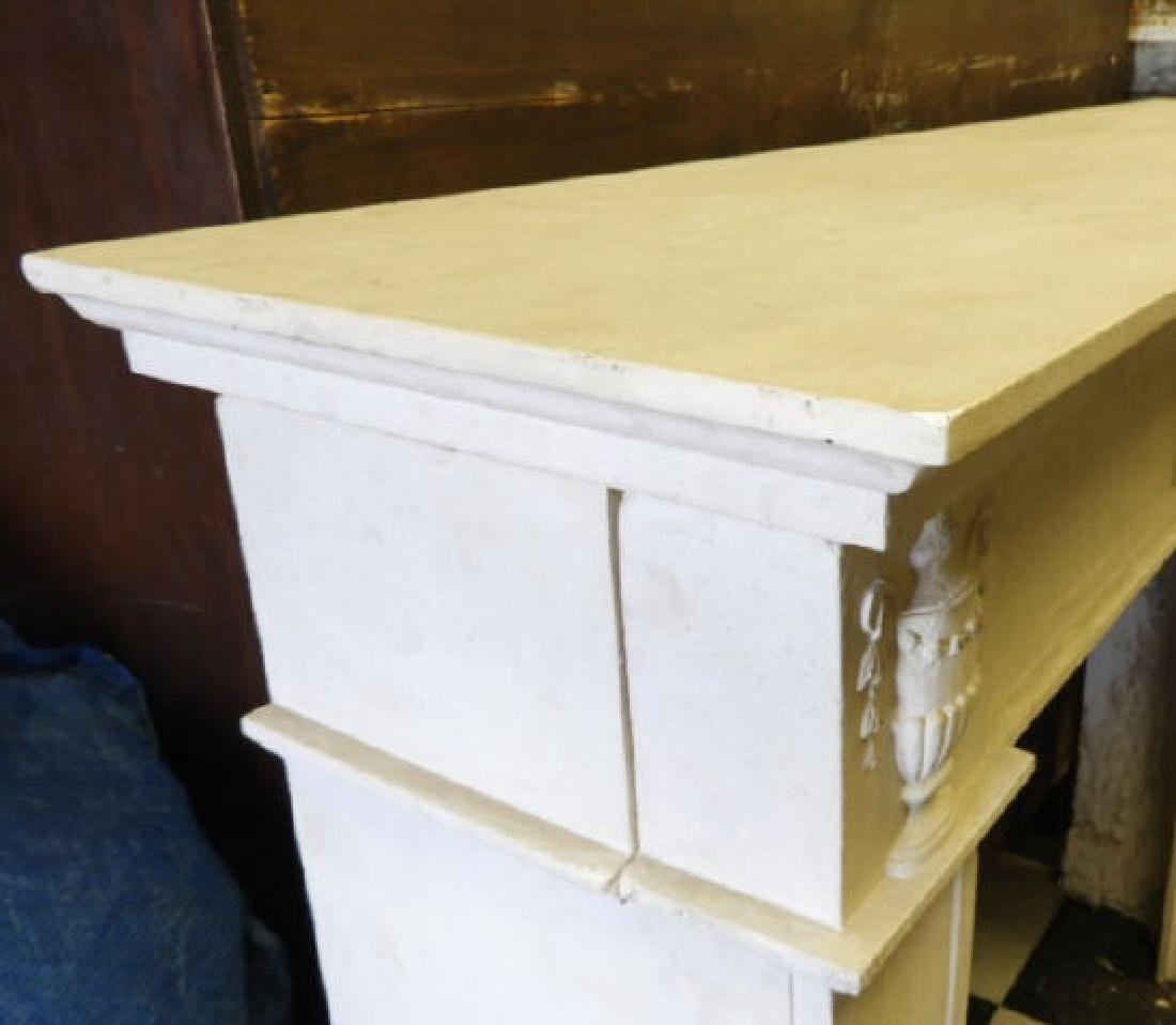WHITE COMPOSITE FRENCH STYLE FIREPLACE MANTLE - 4