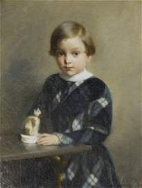 C. 1850 PAINTING OF BOY WITH STAFFORDSHIRE CAT