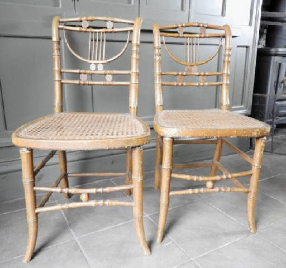 PAIR OF MID-19TH C. SHERATON STYLE CHAIRS