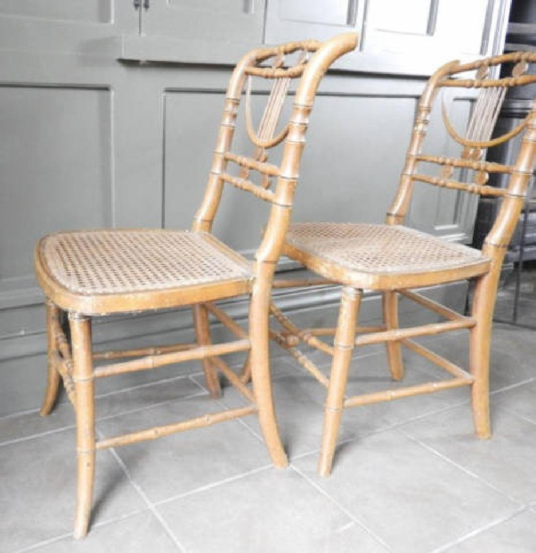 PAIR OF MID-19TH C. SHERATON STYLE CHAIRS - 4