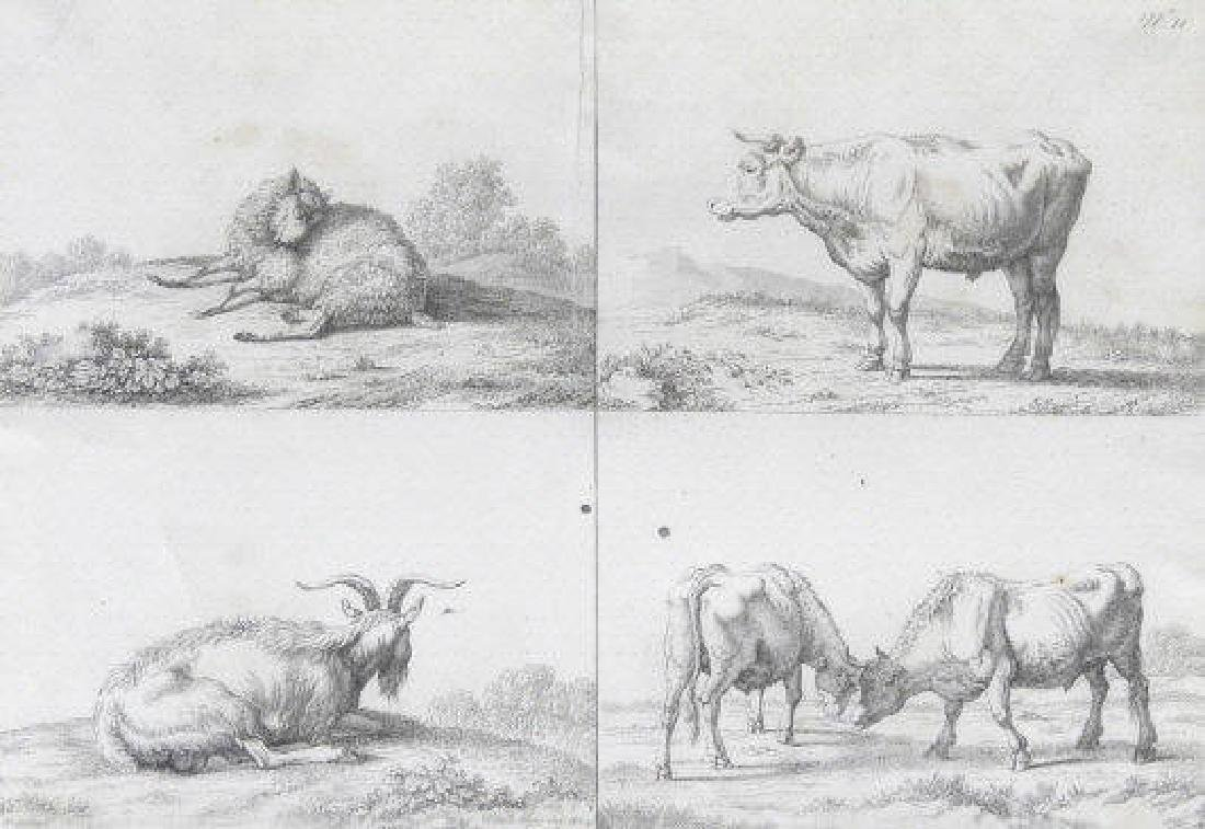 EARLY 19TH C. ETCHING OF FARM ANIMALS