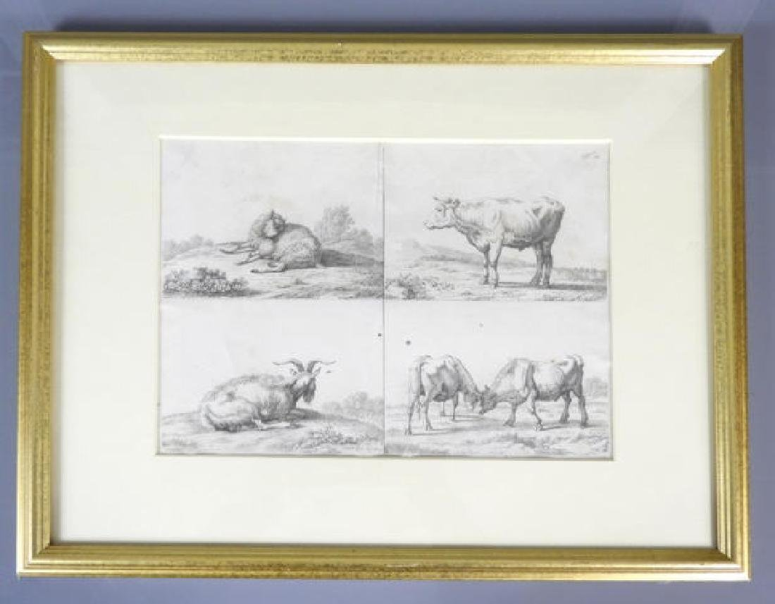 EARLY 19TH C. ETCHING OF FARM ANIMALS - 2