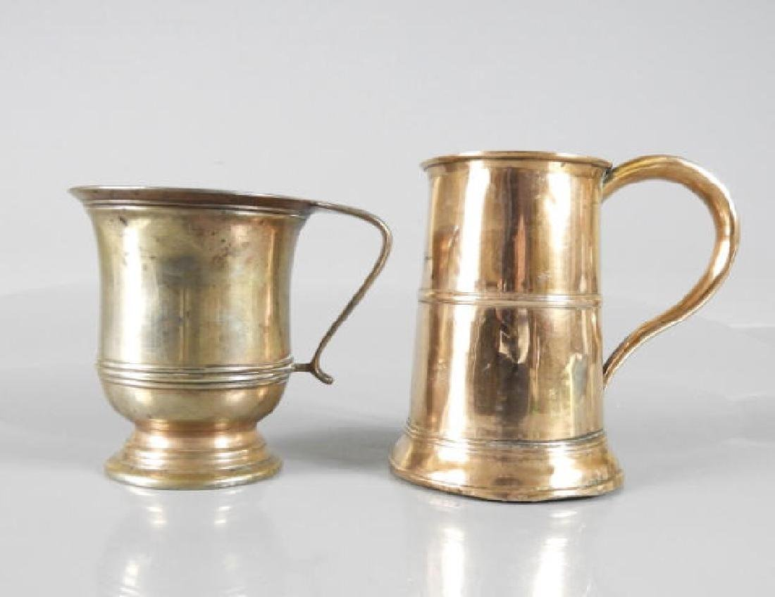 GEORGIAN PERIOD METAL MUG & EARLY COPPER ALE MUG