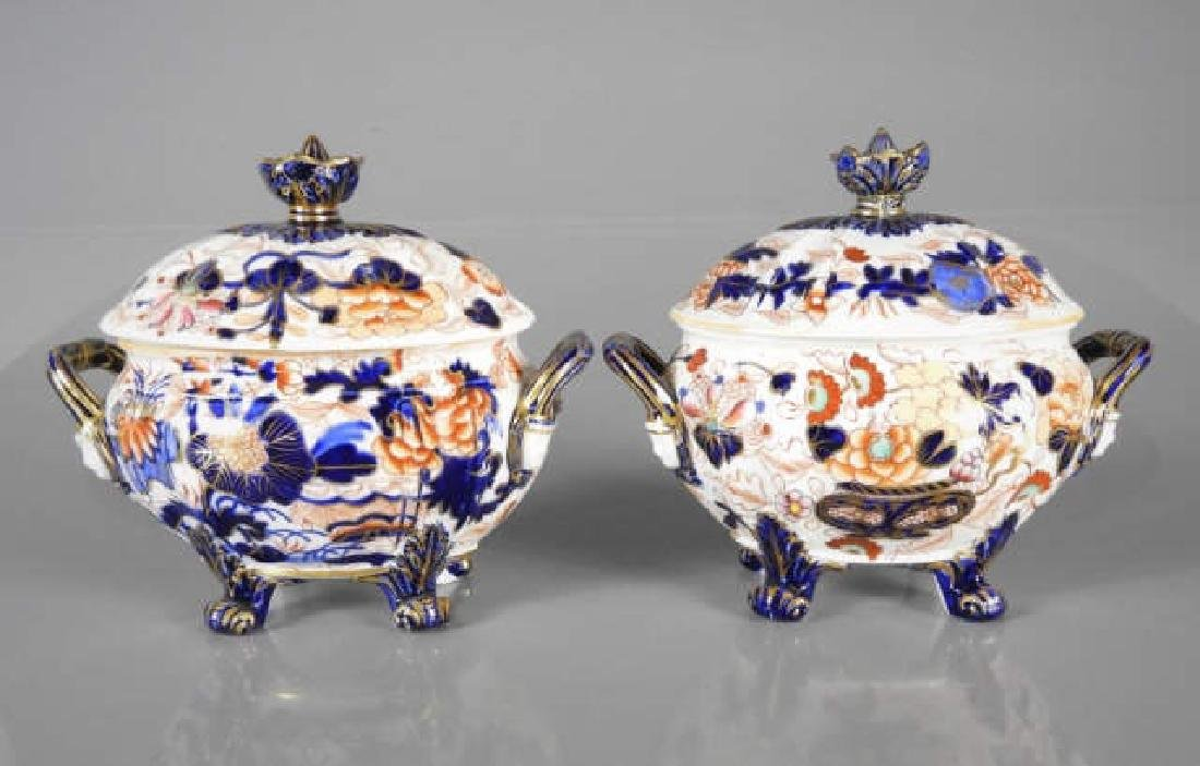 TWO EARLY 19TH CENTURY ROYAL CROWN DERBY TUREENS