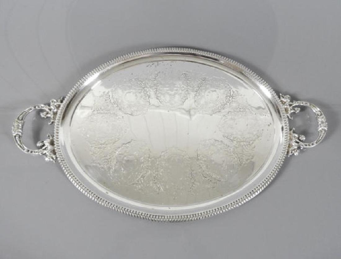EARLY 19TH C. SILVER PLATED HANDLED SERVING TRAY