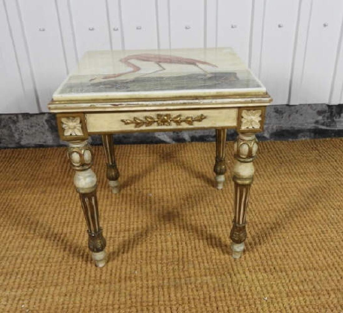 ANTIQUE LOUIS XV STYLE GILT WOOD & MOSAIC STAND